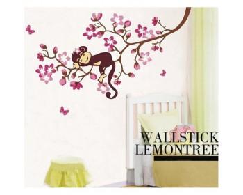 le singe qui dort sur le citronnier mur décalcomanie