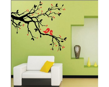 Décalcomanies murales de pruniers avec deux oiseaux sur les branches