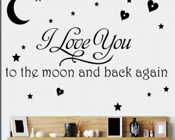 Stickers muraux citation Love You to the Moon and Back
