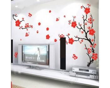 Fleurs de prune et étiquette murale de branches