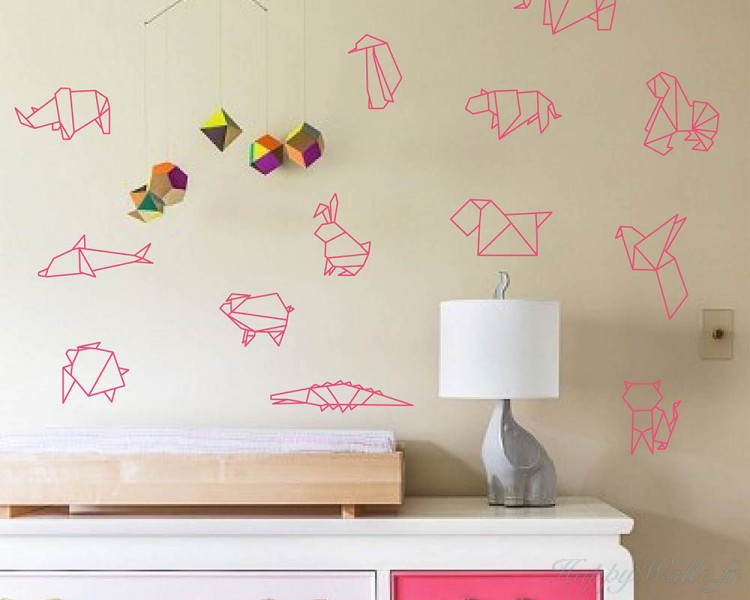 A Set Of Origami Animals Wall Art Sticker