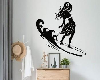 Autocollant de surf silhouette fille