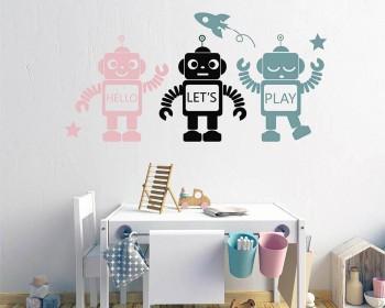 Autocollant mural de trois robots