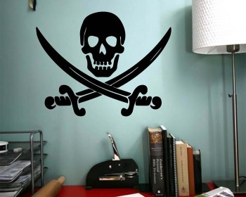 Jolly Roger Pirate Ship Skull Cross Os épées Symbole Sticker Autocollant