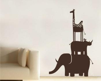 Stickers muraux girafe, rhinocéros, éléphant