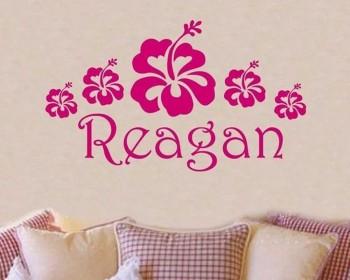 Stickers muraux fleurs et nom personnalisé