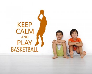 Stickers muraux  citation Keep Calm and Play Basketball