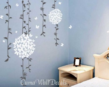 Stickers belle vigne avec les papillons fleurs