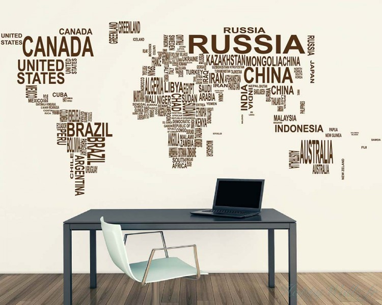 Wall Stickers Mondo.World Map Country Names Decal