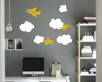 Stickers nursery avion nuage