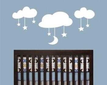 Stickers muraux lune et  étoiles sur les nuages