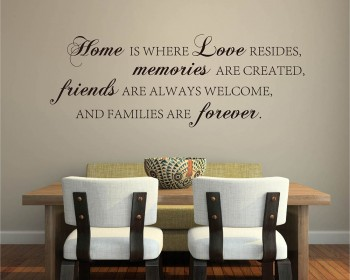 Stickers muraux citation Home is Love, Memories, Friends and Forever