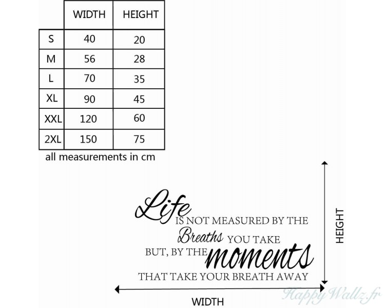 Life Is Not Measured By Quotes Wall Art Stickers