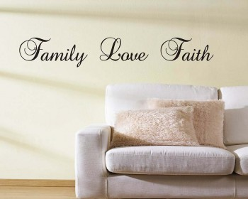 Stickers muraux citation Family Love Faith