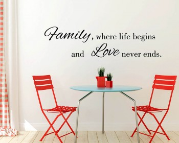 Stickers muraux citation Family Where Life Begins
