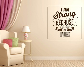 Stickers muraux citation I am Strong