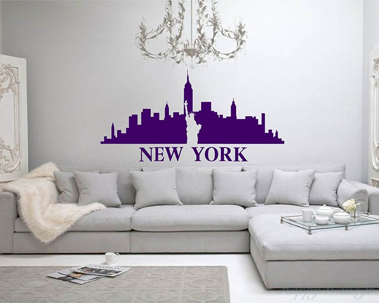 New York City Silhouette Modern Wall, Chandelier Wall Decal Target