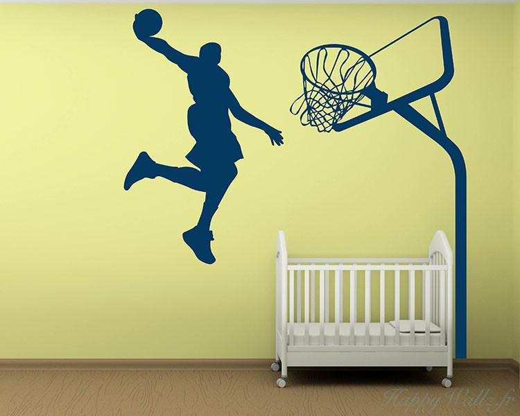 Dunking Boy Silhouette Modern Wall Art Sticker