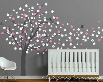 Stickers muraux arbre de cerise avec des oiseaux