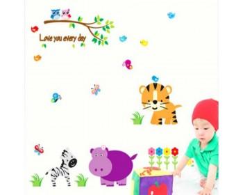 Zoo, école maternelle, mur, décalcomanie, tigre, zèbre