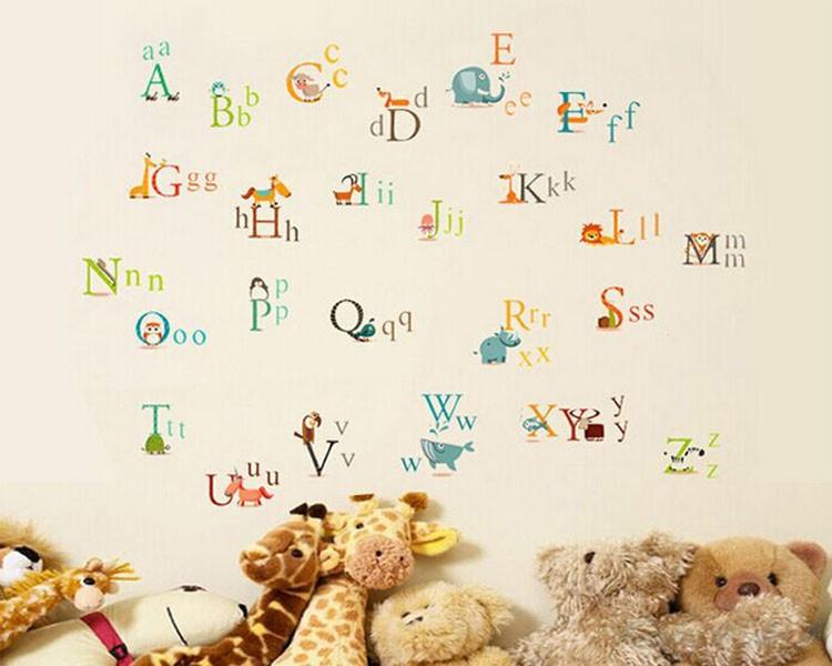 stickers muraux alphabet letter dans les animaux. Black Bedroom Furniture Sets. Home Design Ideas