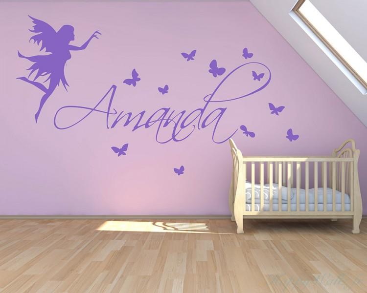 Autocollant mural f erique et papillon avec nom personnalis for Autocollant mural personnalis