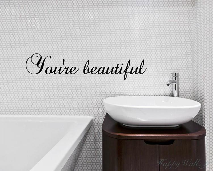 miroirs autocollant autocollant mural vous tes belle. Black Bedroom Furniture Sets. Home Design Ideas