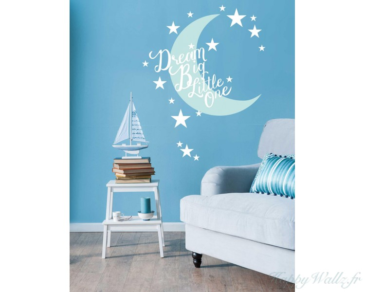 dream big little one sticker mural pour chambre d 39 enfant. Black Bedroom Furniture Sets. Home Design Ideas