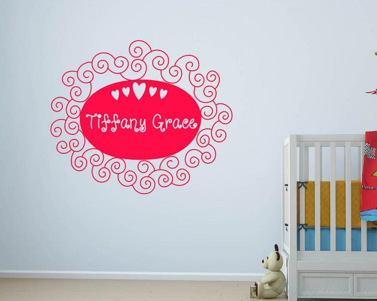 Stickers muraux nom personnalis cadre floral - Stickers muraux personnalise ...