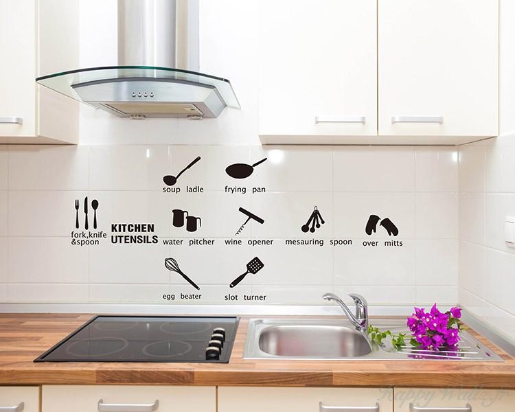 Stickers muraux collection des ustensiles de cuisine for 100 pics ustensiles de cuisine