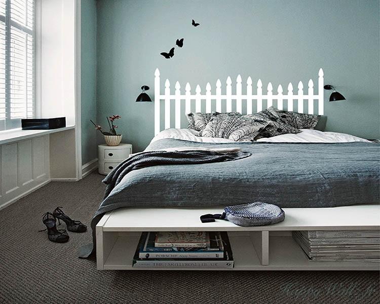stickers muraux t te de lit avec les papillons. Black Bedroom Furniture Sets. Home Design Ideas