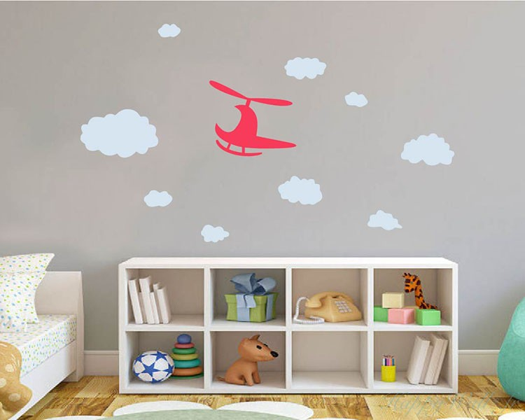 stickers muraux h licopt re nuages. Black Bedroom Furniture Sets. Home Design Ideas