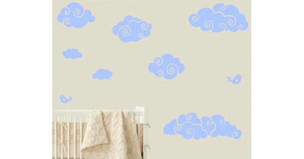 stickers muraux nuages et oiseaux. Black Bedroom Furniture Sets. Home Design Ideas