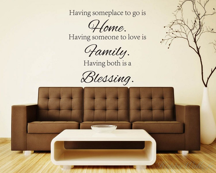 stickers muraux citation home family blessing. Black Bedroom Furniture Sets. Home Design Ideas