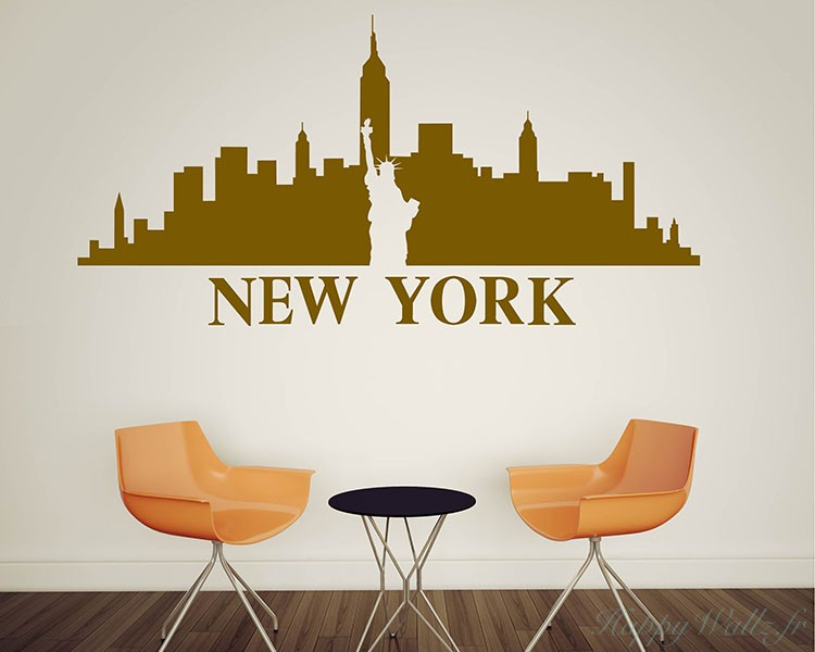 stickers muraux new york silhouette. Black Bedroom Furniture Sets. Home Design Ideas