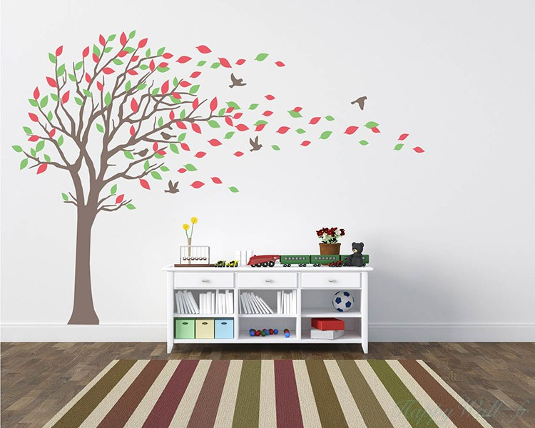 stickers grand arbre avec les feuilles color es. Black Bedroom Furniture Sets. Home Design Ideas