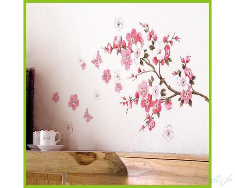 autocollant de mur de fleur de sakura. Black Bedroom Furniture Sets. Home Design Ideas
